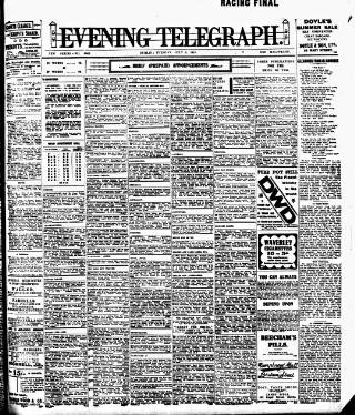 cover page of Dublin Evening Telegraph published on July 8, 1913