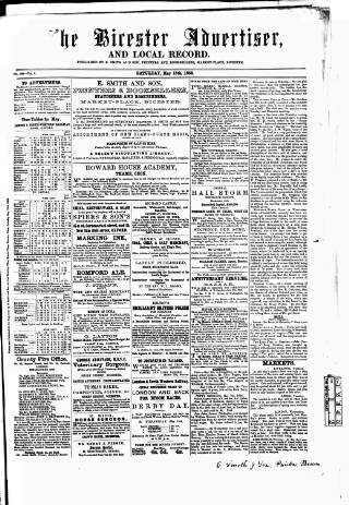 cover page of Bicester Advertiser published on May 15, 1858