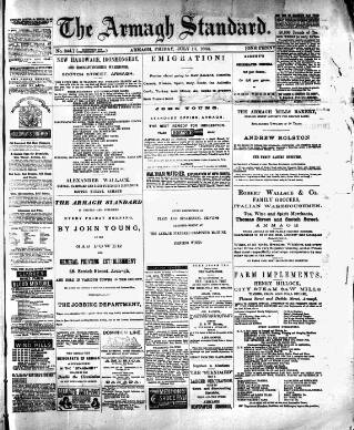 cover page of Armagh Standard published on July 11, 1884
