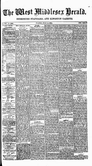 cover page of West Middlesex Herald published on July 14, 1894
