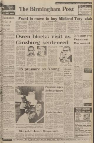 cover page of Birmingham Daily Post published on July 14, 1978