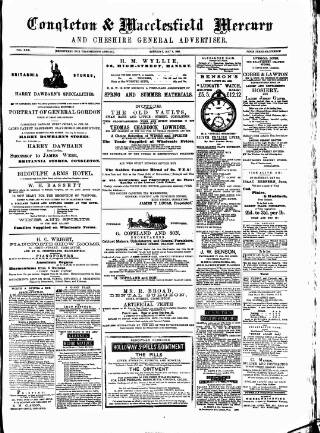 cover page of Congleton & Macclesfield Mercury, and Cheshire General Advertiser published on May 9, 1885