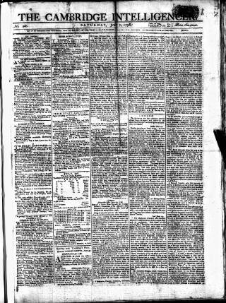 cover page of Cambridge Intelligencer published on July 7, 1798