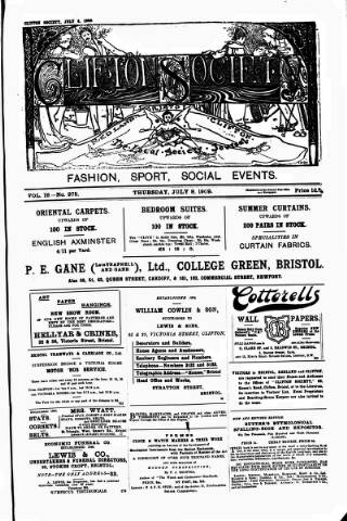 cover page of Clifton Society published on July 8, 1909