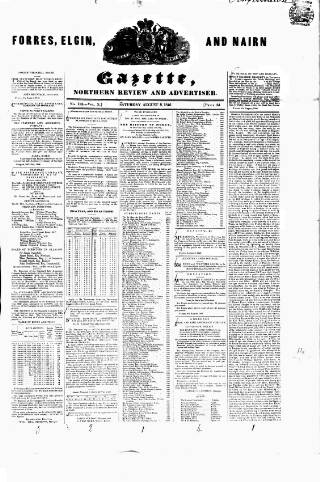 cover page of Forres Elgin and Nairn Gazette, Northern Review and Advertiser published on August 8, 1846