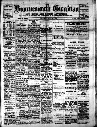 cover page of Bournemouth Guardian published on July 14, 1917