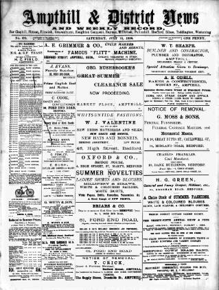 cover page of Ampthill & District News published on July 16, 1898