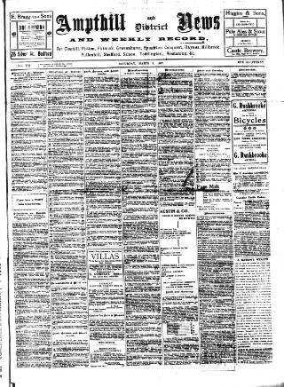 cover page of Ampthill & District News published on March 9, 1907
