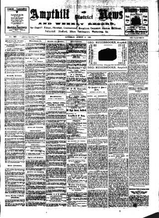 cover page of Ampthill & District News published on August 8, 1908