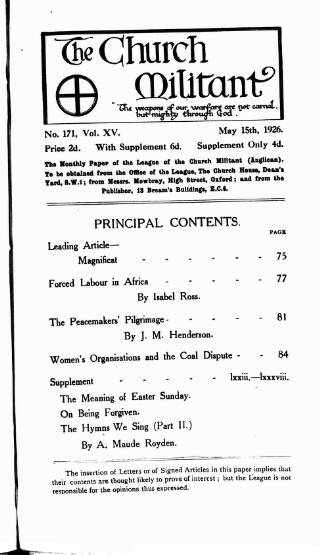 cover page of Church League for Women's Suffrage published on May 15, 1926