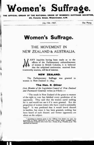 cover page of Women's Suffrage published on July 15, 1907