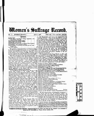 cover page of Women's Suffrage Record published on July 1, 1906