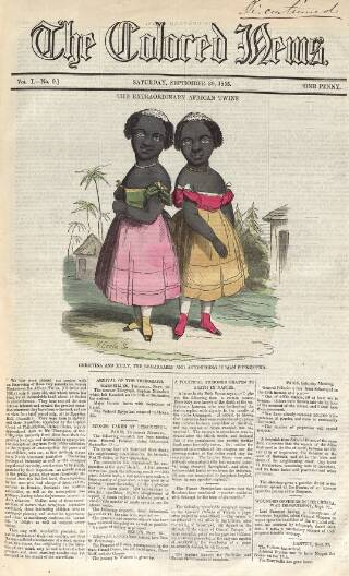 cover page of Colored News published on September 29, 1855