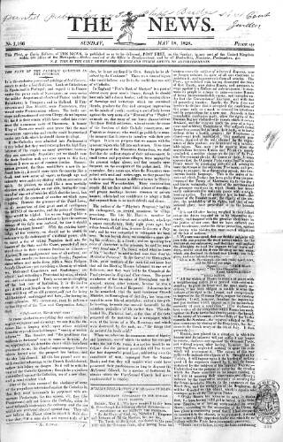 cover page of The News (London) published on May 18, 1828
