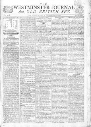 cover page of Westminster Journal and Old British Spy published on May 14, 1808