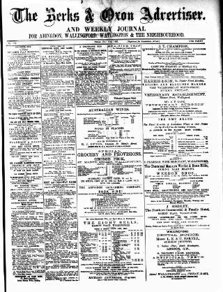 cover page of Berks and Oxon Advertiser published on July 11, 1890