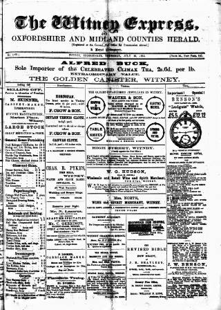 cover page of Witney Express and Oxfordshire and Midland Counties Herald published on July 16, 1885