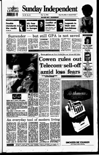 cover page of Sunday Independent (Dublin) published on May 16, 1993