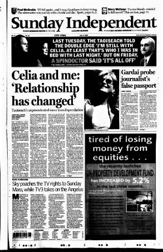 cover page of Sunday Independent (Dublin) published on July 14, 2002
