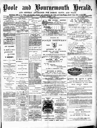 cover page of Poole & Dorset Herald published on August 8, 1889