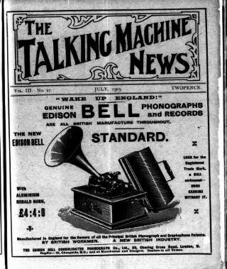 cover page of Talking Machine News published on July 1, 1905