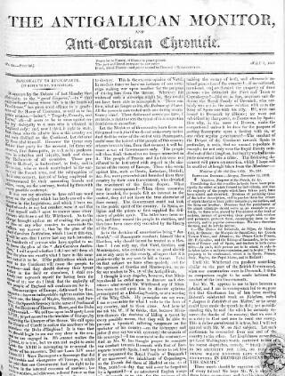 cover page of Anti-Gallican Monitor published on July 7, 1811