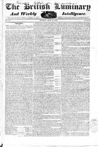 cover page of British Luminary published on May 14, 1820