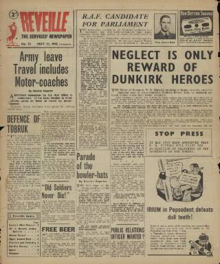cover page of Reveille published on May 11, 1942