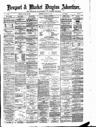 cover page of Newport & Market Drayton Advertiser published on August 8, 1874