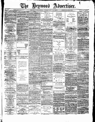 cover page of Heywood Advertiser published on February 25, 1870