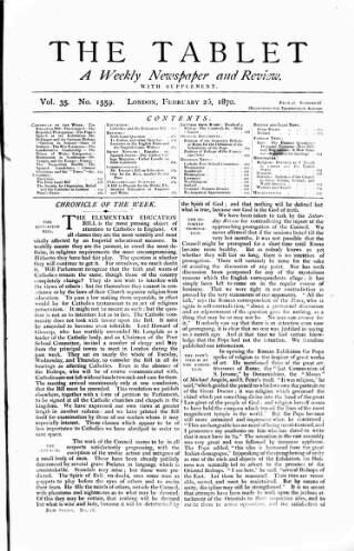 cover page of Tablet published on February 26, 1870