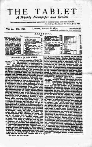 cover page of Tablet published on August 8, 1874
