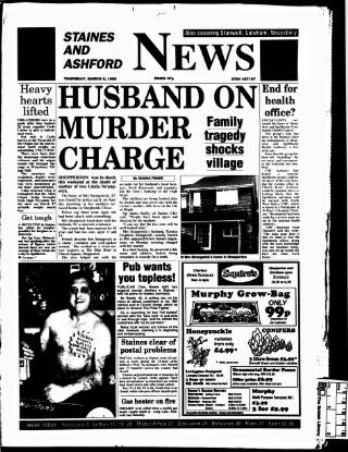 cover page of Staines & Ashford News published on March 9, 1995