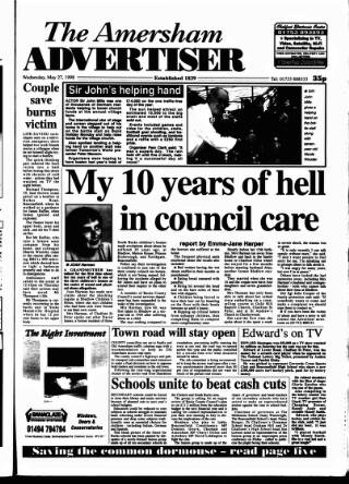 cover page of Amersham Advertiser published on May 27, 1998