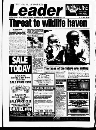 cover page of Ealing Leader published on July 16, 1993