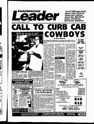 cover page of Harrow Leader published on August 8, 1991
