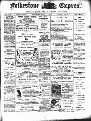 cover page of Folkestone Express, Sandgate, Shorncliffe & Hythe Advertiser published on July 11, 1908