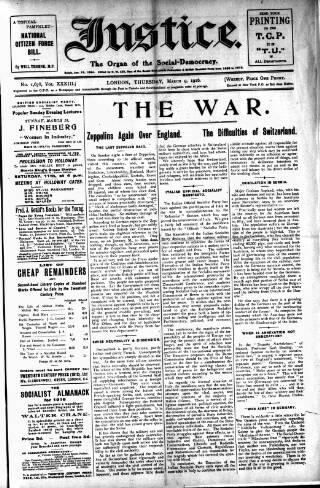 cover page of Justice published on March 9, 1916