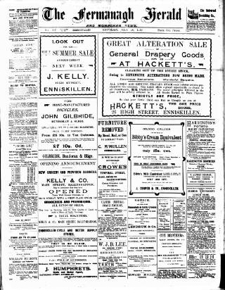 cover page of Fermanagh Herald published on July 16, 1910