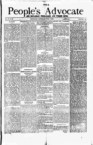 cover page of People's Advocate and Monaghan, Fermanagh, and Tyrone News published on July 7, 1888
