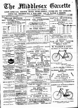 cover page of Middlesex Gazette published on July 11, 1896