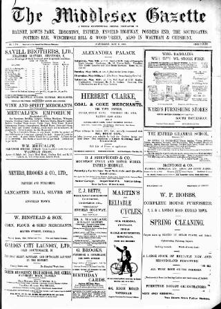 cover page of Middlesex Gazette published on May 9, 1908