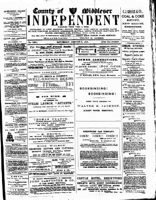 cover page of Middlesex Independent published on August 8, 1891