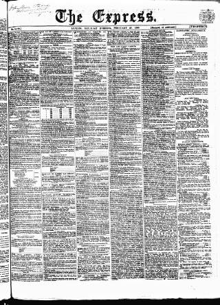 cover page of Express (London) published on February 25, 1865