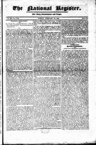 cover page of National Register (London) published on February 25, 1816