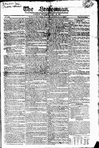 cover page of Statesman (London) published on July 16, 1821