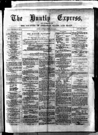 cover page of Huntly Express published on February 28, 1874