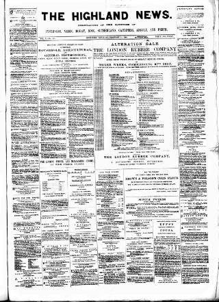 cover page of Highland News published on February 25, 1888