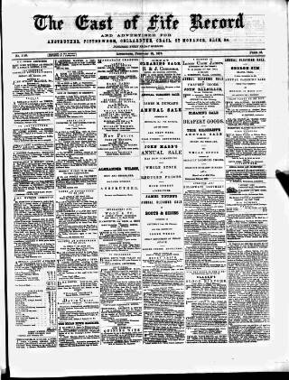 cover page of East of Fife Record published on February 28, 1879