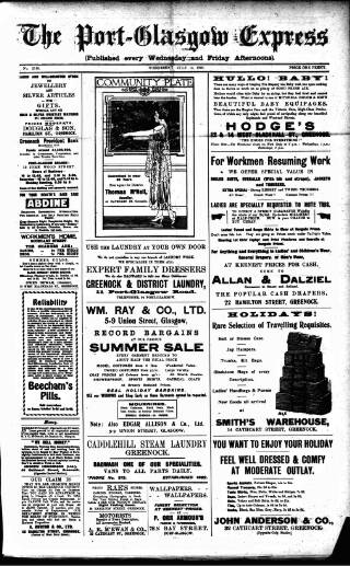 cover page of Port-Glasgow Express published on July 14, 1920
